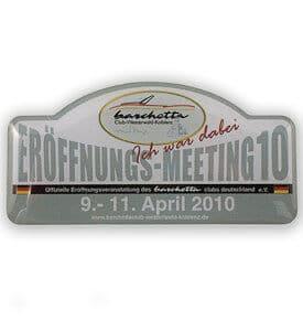 Gedruckter Pin von Barschetta mit Kunstharzüberzug
