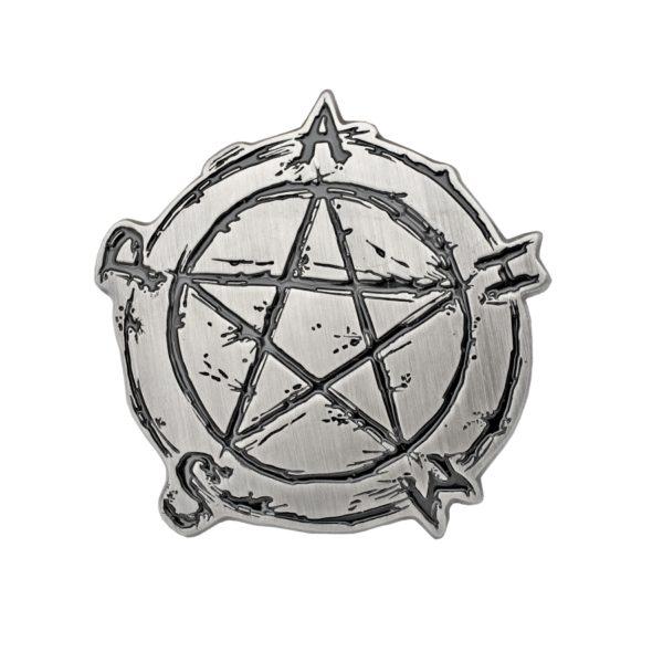 Gürtelschnalle Pentagramm, Metallguss in Antiksilber