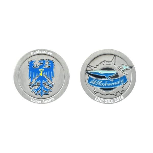 Medaille Whaleomaly in Softemaille - Vorderseite und Rückseite