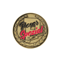 Pins Poser Spezial, reliefgeprägt und antikvergoldet