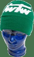 Grüne Mütze mit eingewebtem Motiv