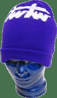 Violette Mütze mit eingewebtem Motiv