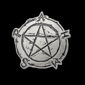Gürtelschnalle Pentagramm in Antiksilber