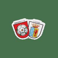Pin Stadtwappen Rosenheim und Lazise in Offsetdruck